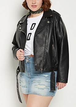 Plus Black Belted Moto Jacket