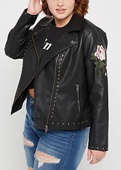 Plus Embroidered Rose Studded Moto Jacket