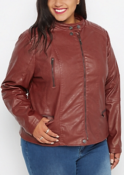 Plus Burgundy Washed Moto Jacket