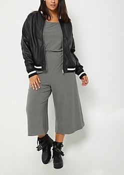 Plus Faux Leather Bomber Jacket