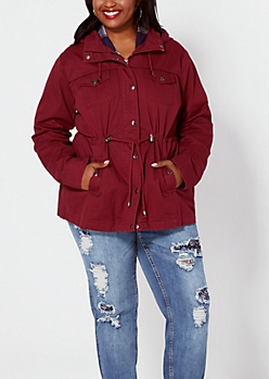 Plus Burgundy Hooded Twill Anorak