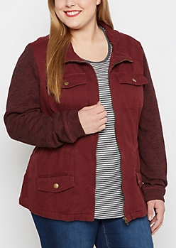Plus Burgundy Marled Sleeve Anorak