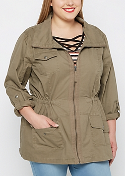 Plus Taupe Zip-Down Twill Jacket
