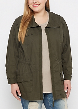 Plus Olive Green Zip-Down Twill Jacket
