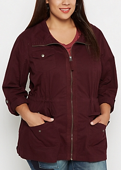 Plus Burgundy Zip-Down Twill Jacket