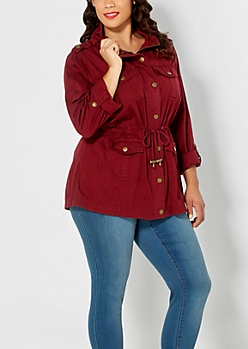 Plus Burgundy Pocketed Anorak Jacket