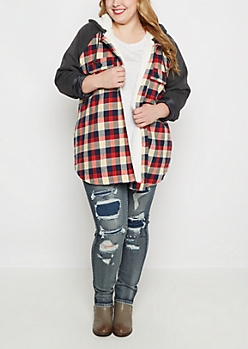 Plus Plaid Faux Sherpa Lined Jacket
