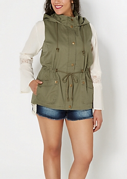 Plus Olive Green Hooded Anorak Vest