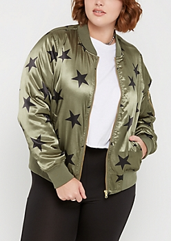 Plus Black Star Bomber Jacket
