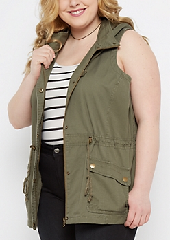 Plus Hooded Twill Anorak Vest