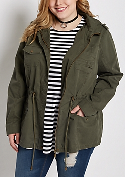 Plus Dark Olive Hooded Anorak Jacket