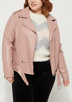 Plus Pink Belted Moto Jacket