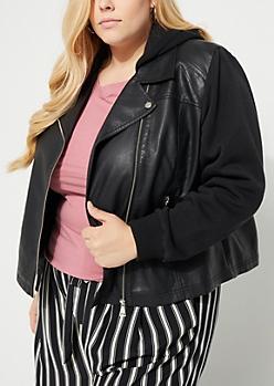 Plus Black Hooded Leather Jacket