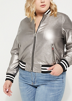 Plus Silver Faux Leather Metallic Bomber Jacket