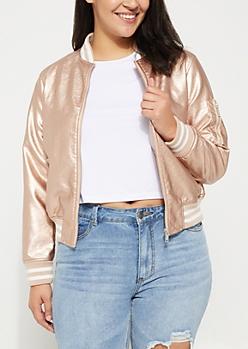 Plus Rose Gold Faux Leather Metallic Bomber Jacket