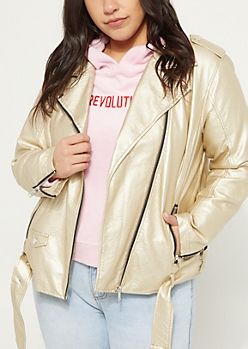 Plus Gold Metallic Belted Moto Jacket