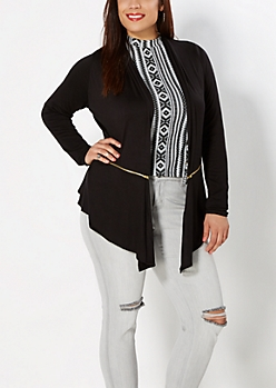 Plus Zip Accent Cascading Jacket