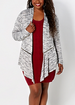 Plus Gray Streaked Cascading Jacket