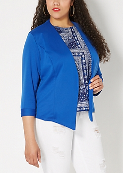 Plus Blue Cropped Knit Jacket