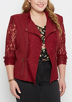 Plus Burgundy Lace Moto Jacket