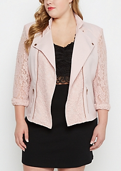 Plus Pink Lace Moto Jacket