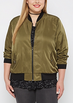 Plus Olive Ribbed Trim Bomber Jacket