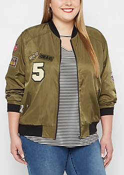 Plus Aviator Patched Bomber Jacket