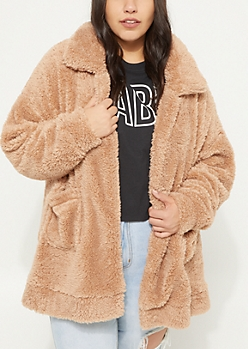 Plus Sand Faux Sherpa Coat