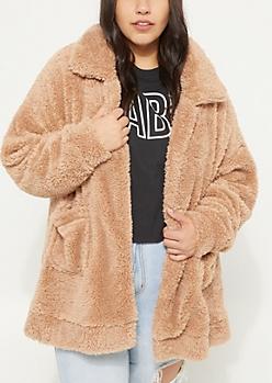 Plus Sand Faux Sherpa Coat