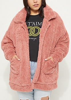 Plus Pink Faux Sherpa Coat