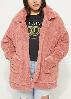 Plus Pink Faux Sherpa Coat