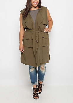 Plus Cascading Sleeveless Anorak