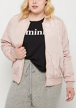 Plus Pink Quilted Bomber Jacket
