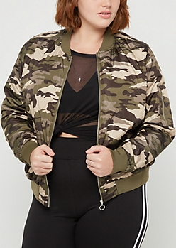 Plus Camo Quilted Bomber Jacket