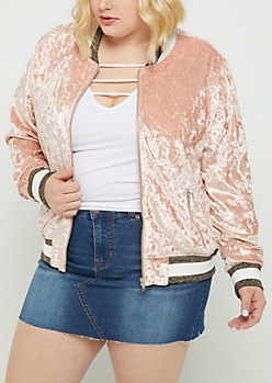 Plus Pink Crushed Velvet Bomber Jacket