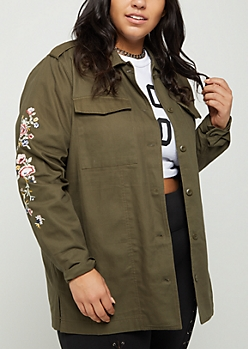 Plus Floral Embroidered Shacket