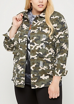 Plus Ripped Camo Shacket