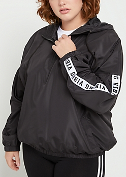 Plus Black Vibing Windbreaker