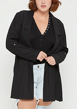 Plus Black Oversized Blazer