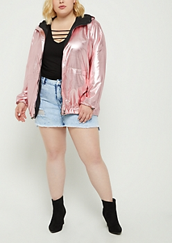 Plus Metallic Pink Windbreaker