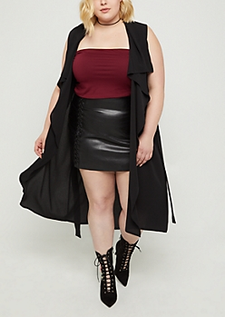 Plus Black Cascading Belted Duster