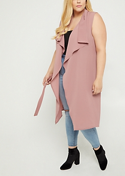 Plus Pink Cascading Belted Duster