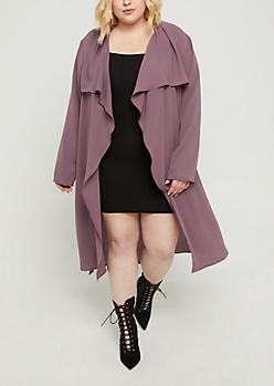 Plus Purple Cascading Crepe Jacket