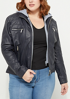 Plus Hooded Faux Leather Moto Jacket