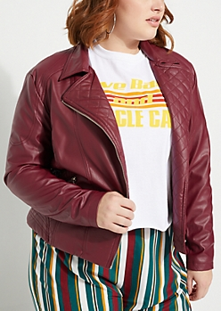 Plus Burgundy Quilted Moto Jacket