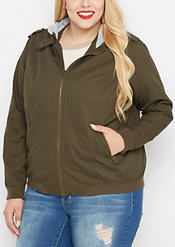 Plus Olive Hooded Moto Bomber Jacket