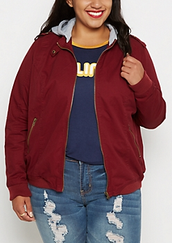 Plus Burgundy Hooded Moto Bomber Jacket