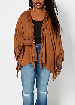 Plus Fringed Faux Suede Poncho