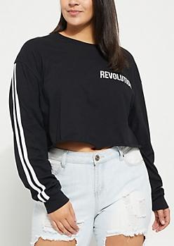 Plus Black Revolution Varsity Long Sleeve Crop Top