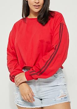 Plus Red Varsity Long Sleeve Crop Top